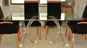 Mid Century Lucite Glass Dining Room Table Ultra Cool 1970 S