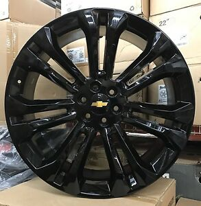 24 Gmc Sierra Gloss Black Tires Rims Denali Chevy Silverado Tahoe Wheels New