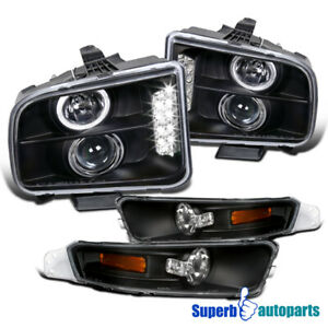 For 2005 2009 Ford Mustang Led Halo Black Projector Headlights Bumper Signal