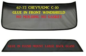 Flush Mount Windshield Back Glass Chevy Pickup 1967 1972 New Glue In No Mldg