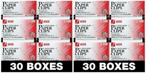 Acco Paper Clips 1 Size Economy Non skid 60 Boxes 100 box 6000 Count Total