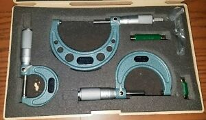 Mitutoyo No 103 922 Omst 3 Outside Micrometer Set In Case