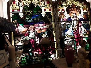 Magnificent Large Stained Glass Window 1890 S Jesus Christ Garden Of Gethsemane