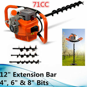 71cc 2 Stroke Gas Powered Post Hole Digger Auger Borer Fence Drill