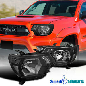 For 2012 2015 Toyota Tacoma Pickup Factory Style Black Headlights