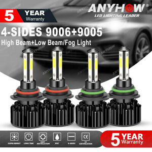 4side 9005 9006 Led Combo Headlight Kit Cree Cob 240w Light Bulbs High low Beam