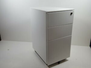 Devaise 3 Drawer Mobile File Cabinet With Lock Narrow Metal Filing Cabinet