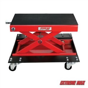 Extreme Max 5001 5059 Wide Motorcycle Scissor Jack With Dolly 1100 Lb