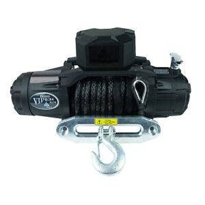 Viper Winch 12000lb Black Synthetic Rope Handheld And Wireless Remote