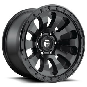 4 Fuel D630 Tactic 17x9 5x5 12mm Matte Black Wheels Rims 17 Inch