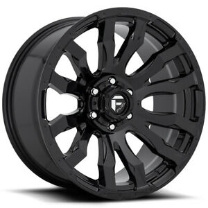 4 Fuel D675 Blitz 17x9 8x6 5 12mm Gloss Black Wheels Rims 17 Inch