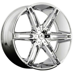 4 kraze Kr311 Mania 26x10 5x115 5x120 20mm Chrome Wheels Rims 26 Inch