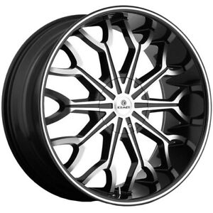 4 kraze Kr1012 Frenzy 26x10 5x115 5x120 20mm Black machined Wheels Rims 26 Inch