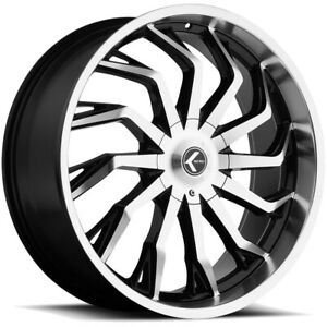4 kraze Kr142 Scrilla 26x10 5x5 5x5 5 18mm Black machined Wheels Rims 26 Inch
