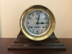 Chelsea Shipstrike Ship S Bell Mantle Clock Brass 6 Mahogany Stand With Key