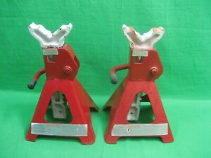 Vintage Pair 3 Ton Red Jack Adjustable Stands