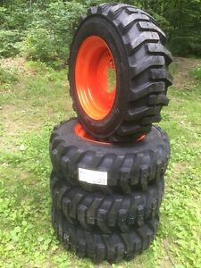 4 New 10 16 5 Galaxy Skid Steer Tires Wheels rims For Bobcat 10 Ply 10x16 5