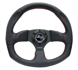 Nrg 320mm Racing Sport Steering Wheel Black Leather Red Stich Flat Bottom