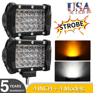 2x 4inch 12d Offroad Led Work Light Strobe Flash Amber Driving Lamps For Atv Suv