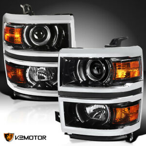 For 2014 2015 Chevy Silverado 1500 Glossy Black Projector Headlights Signal Lamp