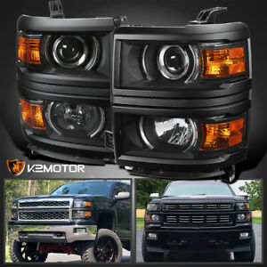 Black For 2014 2015 Chevy Silverado 1500 Projector Headlights Left right Lamps