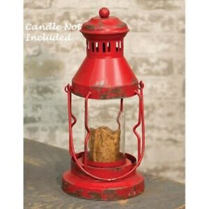 Primitive Red Metal Lantern Candle Holder Farmhouse Christmas Distressed Rustic