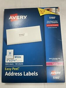 Avery 5160 Easy Peel White Address Labels 1 X 2 5 8 3 000 Labels ave5160