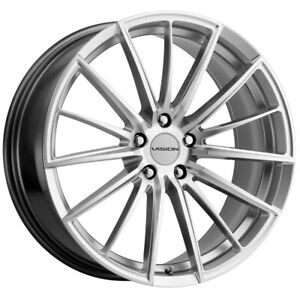 4 Vision 473 Axis 17x8 5x112 38mm Silver Wheels Rims 17 Inch