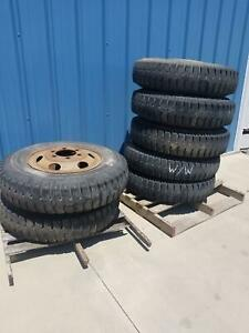 Used Set Of 7 Military 1000 20 Power King M40 Tire On Wheel12pr