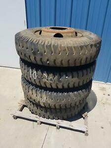 Used Set Of 4 Military 1000 20 Yellow Sea Tyre gulf Y502 Tire On Wheel