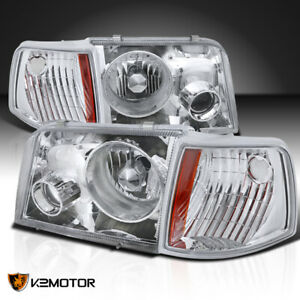 For 1993 1997 Ford Ranger Projector Headlights W fog corner Signal Lamps 4pc