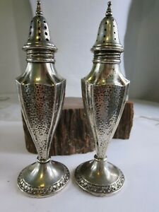 Antique Webster Sterling Silver Hammered Style Salt And Pepper Shakers E3