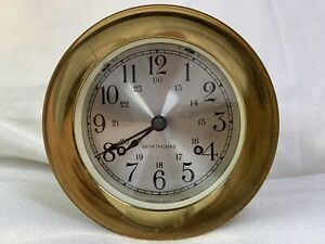 Vintage Brass Seth Thomas 1004 Corsair W Model E537 000 Ships Bell Clock W Key