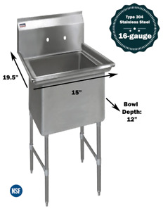 1 Compartment Commercial Stainless Steel Kitchen Utility Sink 15 X 19 X 36