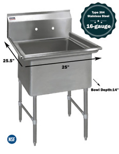 1 Compartment Commercial Stainless Steel Kitchen Utility Sink 25 X 25 X 36
