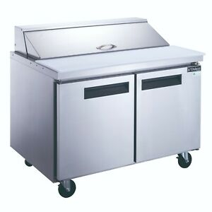 Dukers Two Door 48 Refrigerated Sandwich salad Prep Table Cooler Dsp48 12 s2