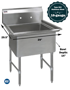 1 Compartment Commercial Stainless Steel Kitchen Utility Sink 29 X 29 X 36