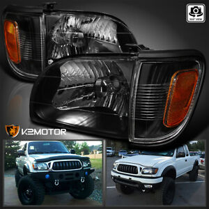 For 2001 2004 Toyota Tacoma Black Headlights Signal Corner Parking Lamps Lights