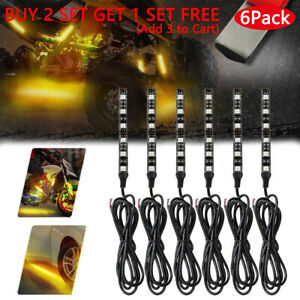 Pair 6led Motorcycle Turn Signals Flexible Strip Blinkers Amber Flush Tail Light