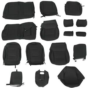 For 2014 18 Silverado Crew Cab Lt Black Leather Seat Covers