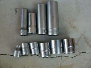 Lot 10 Snap on 3 8 inch Drive 6 12 point Deep Shallow Sae Metric Sockets
