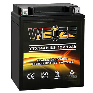 Weize Ytx14ah bs High Performance Maintenance Free Agm Atv Motorcycle Battery