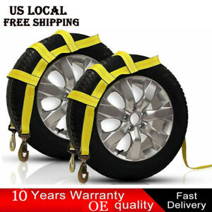 2x Tow Dolly Basket Strap With Twisted Snap Hooks For Small To Medium Size Tires