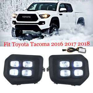 For 2016 2017 2018 Toyota Tacoma 4 eyes Style Drl Led Clear Fog Lights Lamp
