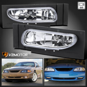 Fits 1994 1998 Ford Mustang V6 Clear Bumper Fog Lights Driving Lamps switch Pair