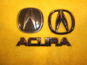 Acura 1994 2000 Integra Front Rear Only Plastic Chrome Genuine Oe 3 Emblems