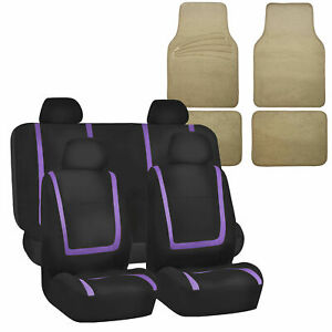 Universal Seat Covers For Auto Car Suv Van Purple Combo W Beige Floor Mats