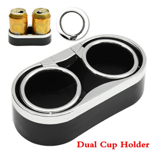 Universal Car Console Dual Cup Holder Drink Bottle Mount W adhesive 2 Top Rings