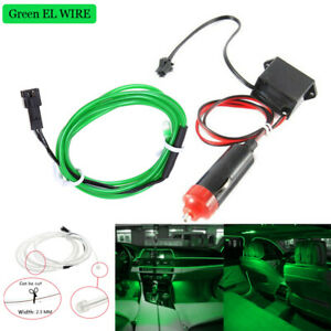 Green Car Led El Wire Light Strip Interior Atmosphere Glow Neon Lamp Decor Set
