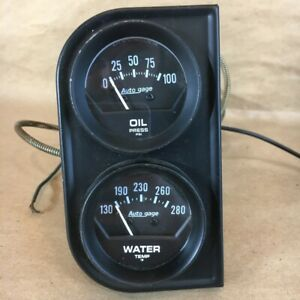 Oem Vintage Auto Meter Products Oil Pressure Water Temperature Gauge Set 0493